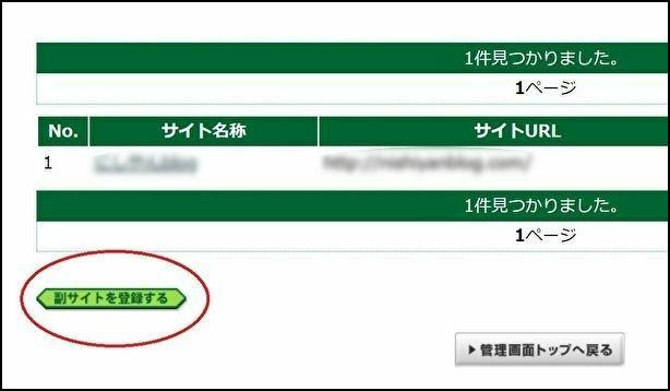 A8.netに複数のサイトを登録する方法③:画面左下の「副サイトを登録する」をクリック